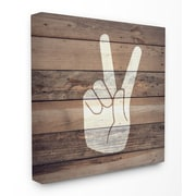 Stupell Industries Peace Hand Distressed Wood Stretched Canvas Wall Art