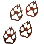 7055 Inc Wolf Paw Prints Wall D cor (Set of 4); Natural Rust Patina