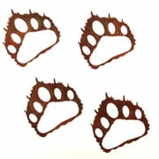 7055 Inc Bear Paw Prints Wall D cor (Set of 4); Natural Rust Patina