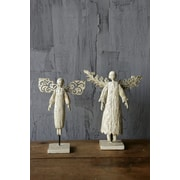 Creative Co-Op Chateau 2 Piece Resin Angels On Stand Figurine Set