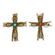 Woodland Imports 2 Piece Creative Wood / Metal Cross Wall Decor Set