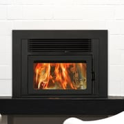 Supreme Fireplaces Inc. Volcano Plus Wall Mount Wood Burning Fireplace Insert; Metallic Black
