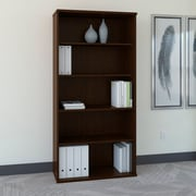Bush Business Westfield 36W 5 Shelf Bookcase, Mocha Cherry