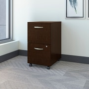 Bush Business Westfield 2 Drawer Mobile Pedestal, Mocha Cherry, Installed