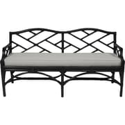 David Francis Furniture Chippendale Upholstered Entryway Bench; Black