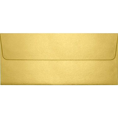 LUX Peel & Press #10 Square Flap Envelopes (4 1/8 x 9 1/2) 250/Box, Gold Metallic (5360-07-250)