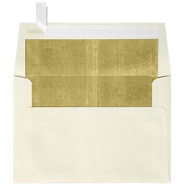 LUX A4 Foil Lined Invitation Envelopes (4 1/4 x 6 1/4) 50/Box, Natural w/Gold LUX Lining (FLNT4872-04-50)