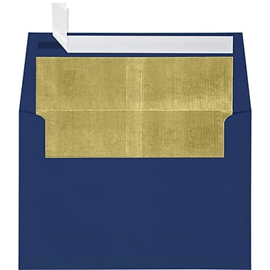 LUX A4 Foil Lined Invitation Envelopes (4 1/4 x 6 1/4) 50/Box, Navy w/Gold LUX Lining (FLNV4872-04-50)