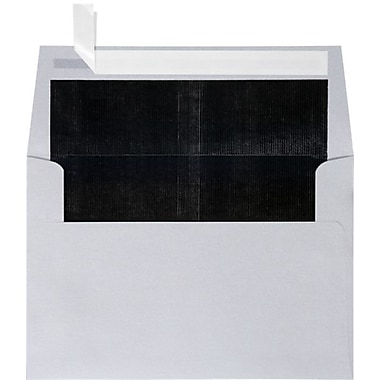 LUX A4 Foil Lined Invitation Envelopes (4 1/4 x 6 1/4) 50/Box, Silver w/Black LUX Lining (FLSL4872-02-50)