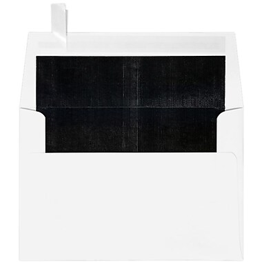 LUX A4 Foil Lined Invitation Envelopes (4 1/4 x 6 1/4) 50/Box, White w/Black LUX Lining (FLWH4872-02-50)