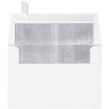 LUX A4 Foil Lined Invitation Envelopes (4 1/4 x 6 1/4) 1000/Box, White w/Silver LUX Lining (FLWH4872-031000)