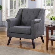 Container Tufted Arm Chair; Dark Gray