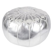 Casablanca Market Moroccan Embroidered Leather Ottoman; Silver on Silver