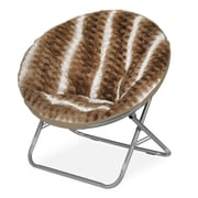 Idea Nuova Urban Shop Ombre Wave Textured Fur Saucer Papasan Chair; Light Brown