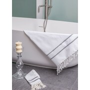 Darby Home Co Sumner Stripe Bath Towel; White/Black