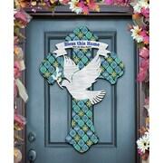 G Debrekht Cross w/ Dove ''Bless This Home'' Wooden Decorative Door Hanger