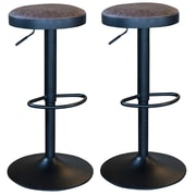 AmeriHome Classic Faux Leather Adjustable Height Swivel Bar Stool (Set of 2); Faux Leather - Brown