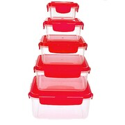 Lock & Lock Plastic 10 Piece Food Storage Container Set; Red