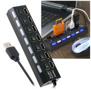 Insten® 7 Port USB Hub With On/Off Switch, Black