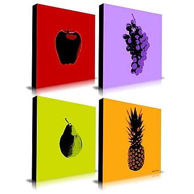 Maxwell Dickson 4-Piece Fruits Graphic Art on Wrapped Canvas (Set of 4); 30'' H x 30'' W