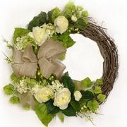 Floral Home Decor 19'' White and Cream Ranunculus Silk Floral Wreath