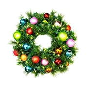 Queens of Christmas Pre-Lit Sequoia Wreath Decorated w/ Tropical Ornament; 48''