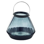Cole & Grey Glass and Metal Lantern; 13'' H x 11'' W x 11'' D