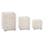GARIAN 3 Piece Square Glass Crystals Votive Set