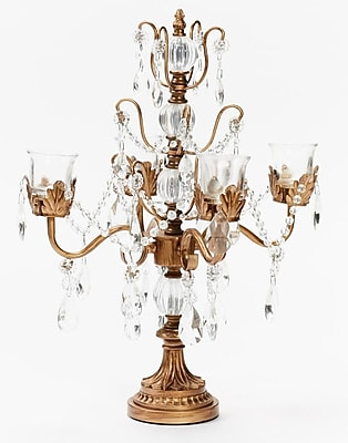 Opulent Treasures Iris Four Taper Metal Candelabra; Gold WYF078280044172