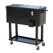 Outsunny 80 Qt. Rolling Portable Drink Cooler Cart; Black