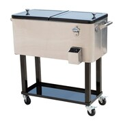 Outsunny 80 Qt. Rolling Portable Drink Cooler Cart; Stainless Steel