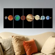 Stupell Industries Planet in the Dark Solar System 5 Piece Graphic Art on Canvas Set
