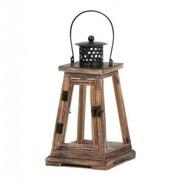CoreofDecor Wood/Glass Lantern; 12'' H x 6.375'' W x 6.5'' D