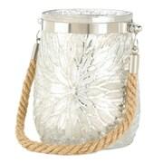 CoreofDecor Flower Glass Lantern; White