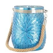 CoreofDecor Flower Glass Lantern; Blue