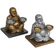 Essential Decor & Beyond Big Bellied Laughing Buddha Candle Holder; Silver