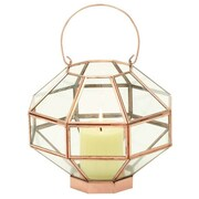 Cole & Grey Glass Lantern; Copper Gold / Clear