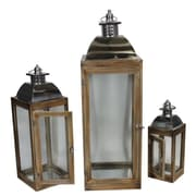 Essential Decor & Beyond 3 Piece Wood Lantern Set