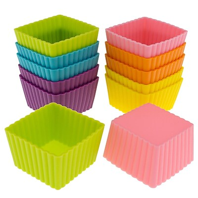 Freshware Silicone Mini Square Reusable Cupcake and Muffin Baking Cup (Set of 12); Multi WYF078280041451