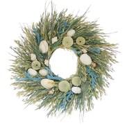 Floral Treasure Sea Island 22'' Wreath; Green/Light Blue
