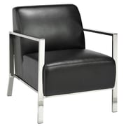 Uptown Club Chinook Stainless Steel Frame Arm Chair; Black
