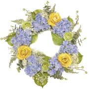 Floral Home Decor Blue and Yellow 24'' Hydrangea Wreath
