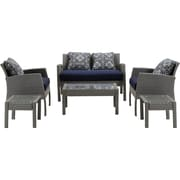 Hanover Chelsea 6 Piece Space-Saving Patio Set w/ Cushion; Navy Blue