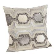 Saro Beaded Cowhide Hexagon Design Cotton/Leather Throw Pillow