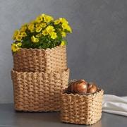 Evideco 3 Piece Storage Organizer Basket Set; Natural