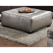 Roundhill Furniture Shimmer Ottoman; Silver Microfiber