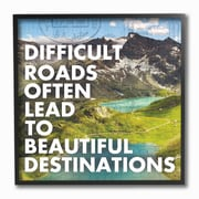 Stupell Industries Difficult Roads Beautiful Destinations Typography Framed Giclee Texturized Art