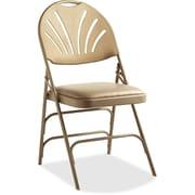 Samsonite Fanback Vinyl Padded Folding Chair; Neutral