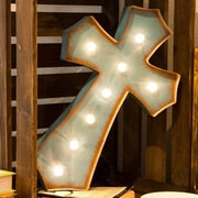 Glitz Home Marquee LED Lighted Cross Sign Wall D cor