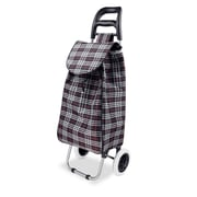 Home Basics Plaid Shopping Utility Cart; Black